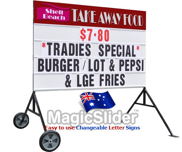 Suitable for roadside advertising and business signage, the all metal construction and sturdy welded leg system makes the perfect interchangeable letter system for outside signage on wheels.