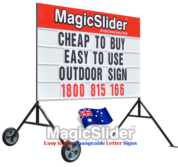 The portable sign is very cheap to buy and is suitable for outdoor signwriting and advertising. It is very easy to wheel around and display your business advertising, school special notice board messages, use for sporting events, business etc. Very popular and well made metal sign with over 370 letters symbols and numbers.