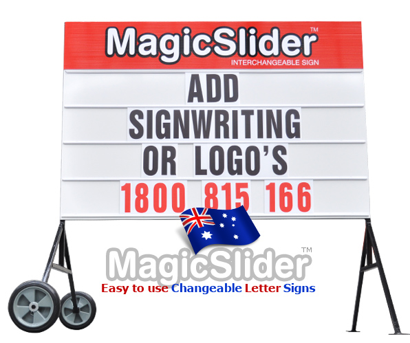 Add signwriting or your company name logo to the top of sign. Double sided, each kit contains plenty of extra symbols and special characters.